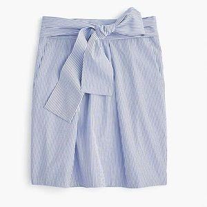 J. Crew Wrap-around Tie Skirt in Shirting Stripes